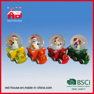 Christmas Ornament Snow Globe Snowman on Train Base with Flying Snow and LED Lights Water Globe