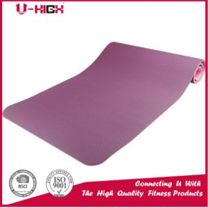 Two Color Eco-Friendly TPE Yoga Mat with Mesh Fabric Inside pictures & photos