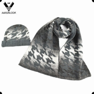 Fashion Houndstooth Jacquard Wool Knit Scarf Hat pictures & photos