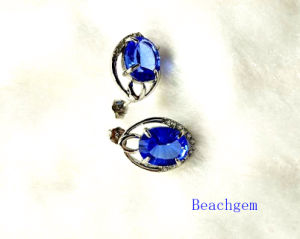 Fashion Blue Quartz Sterling Silver Earrings (E1563)
