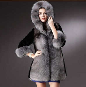 2015 New Style Faux Fur and Rabbit Fur Patchwork Fur Coat pictures & photos