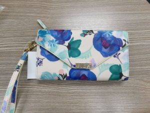 Fashion Dye Print Pattern Leather Phone and Card Holder Function Purse