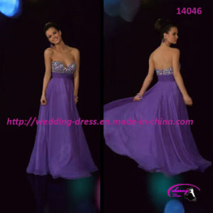 Empire Waist Evening Dress for Party with Rhinestone pictures & photos