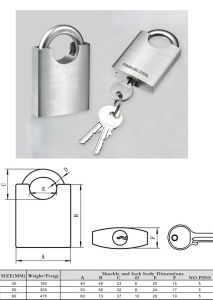 Arc Type Wramped Beam Stainless Steel Padlock PS02 pictures & photos