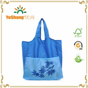 210d Nylon Blue Large Grocery Totes Promotional Shopping Bags with Two Extra Front Pockets Available for Custom Bags pictures & photos