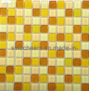 Gold Color Square Glass Mosaic Tile for Bathroom pictures & photos