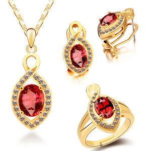 Red Crystal 925 Sterling Silver Jewelry Set Gemstone Jewelry pictures & photos