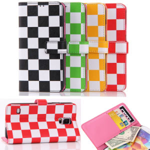 2015 Fashion Colorful Lattice Wallet Cell Phone Case for iPhone 6 Plus pictures & photos