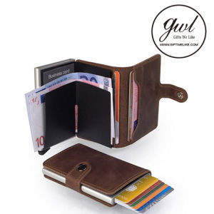RFID Pop up Gift Card Holder Protector Leather Card Wallet pictures & photos