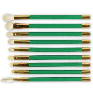New Goat Hair Custom Green 15PCS Makeup Brush Set pictures & photos