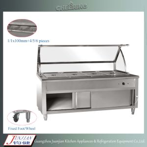 4pan Stainless Steel Commercial Fast Food Buffet Display Warmer Trolly pictures & photos