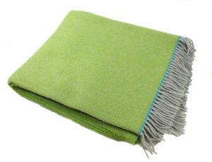 Super Soft Wool Blanket Green Herringbone Merino Handmade Wool Blanket pictures & photos