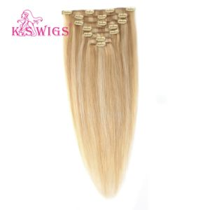 100% Unproccessed Brazilian Remy Keratin Human Clip-in Hair pictures & photos