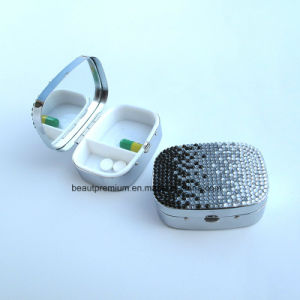 New Design 2 Compartments Portable Pill Box with One Side Mirror BPS0228