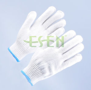 Bleached White Cotton Gloves for Labor Work with High Quality with Blue Edge pictures & photos