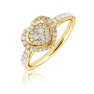 14k Yellow Gold with Diamond Heart Rings Jewelry pictures & photos