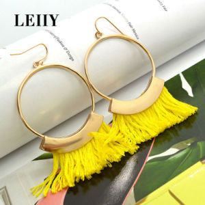 Gold Plated Round Rope Tassel Custom Fashion Drop Earrings pictures & photos