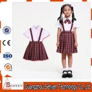 100%Cotton White Cotton Shirt and Scottish Skirt Kids School Uniform pictures & photos