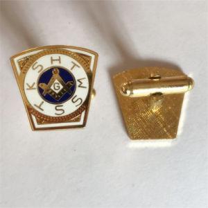 Factory Wholesale Gold Metal Enamel Masonic Cufflink