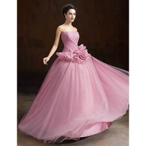 Ball Gown Strapless Long Floor-Length Organza Formal Evening Dress with Flower pictures & photos