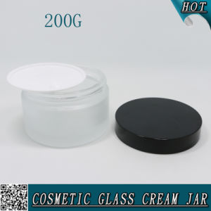 200g Frosted Cosmetic Glass Jar with Black Aluminium Lid 200ml pictures & photos