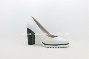 Comfort Chunky High Heels Lady Shoe for Office Women pictures & photos