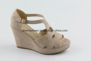 Open Toe Fabric Upper Fashion Lady Sandal with Wedge Design pictures & photos