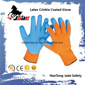 10g Cotton Palm Blue Latex Crinkle Finish Coated Safety Work Glove pictures & photos