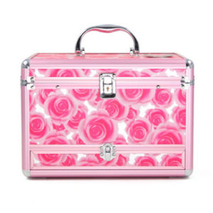 Professional Aluminum Alloy Double Open Multilayer Portable PU Cosmetic Box pictures & photos