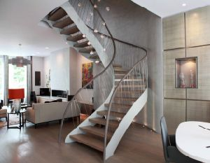 Wood Staircase/Glass Ladder with Steel Structure pictures & photos