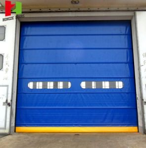 PVC Automatic Radar Sensor Fast Moving Workshop Door with High Quality Fabric Curtain (Hz-FC0541) pictures & photos