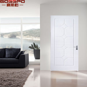 White Painting Single Leaf Solid Cherry Wood Panel Door (GSP2-105) pictures & photos