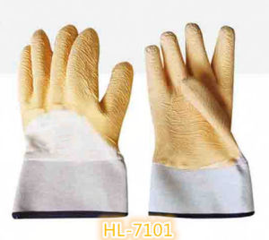 13G Polyester/Nylon Latex Wave Crinkle Full Coating Glove pictures & photos