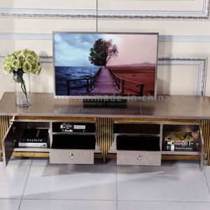 Hotel LED TV Stand with Gold Metal Frame PU Cover pictures & photos