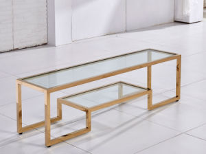 Golden Stainless Steel TV Stand Free Standing with Two Layers pictures & photos