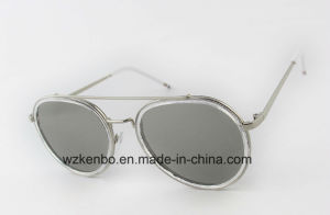 Metal Combine Plastic Round Frame Sunglasses with Eyebrow Km1096 pictures & photos