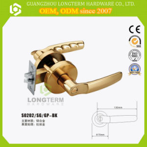Satin Gold Color Bathroom Tubular Lever Lock Design Double Handle Door Lock pictures & photos