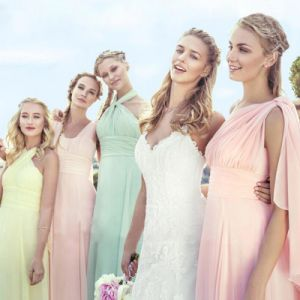 Coral Prom Party Dresses Blue Pink Chiffon Bridesmaid Dresses Z5080 pictures & photos