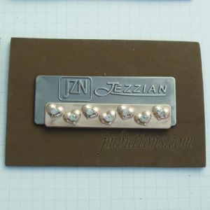 Embossed Logo Custom Rhinestone PU Labels with Metal pictures & photos