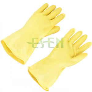 Black and Yellow Color Chemical Resistant Industrial Latex Rubber Work Gloves pictures & photos