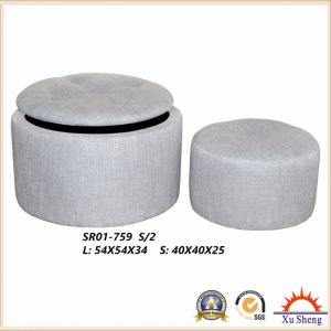Wooden Chest Fabric Tufted Round Storage Ottoman for Living Room Furniture, Coffee Table pictures & photos
