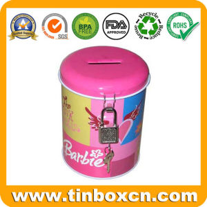 Round Metal Tin Coin Bank with Lock, Saving Money Box pictures & photos