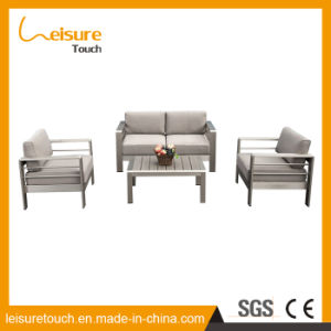 Hotel Indoor and Outdoor Garden Patio Furniture Brushed Wiredrawing Aluminum Cloth Art Sofa Set pictures & photos