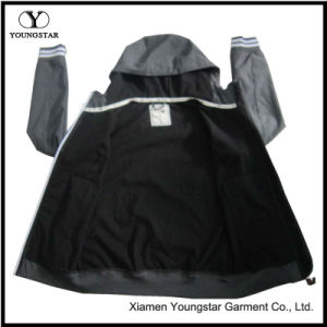 Ys-1068 Boys Mens Black Waterproof Breathable Microfleece Hooded Softshell Jacket pictures & photos