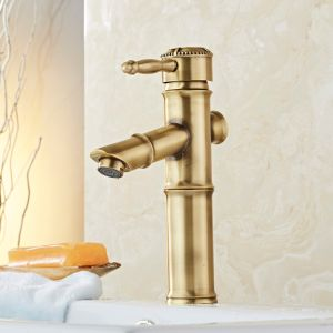 FLG Bamboo Design Bath Vessel Faucet with Single Handle pictures & photos