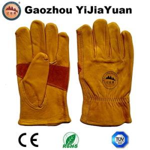 High Quality Cowhide Leather Working Drivers Gloves pictures & photos