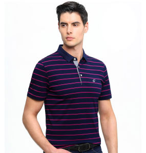Men Striped Short Sleeve 95%Cotton5%Spandex Polo Shirts with Embroidery Logo pictures & photos