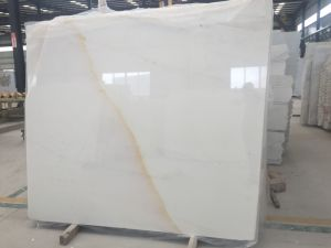 Pure White Marble with Golden Vein Slab pictures & photos