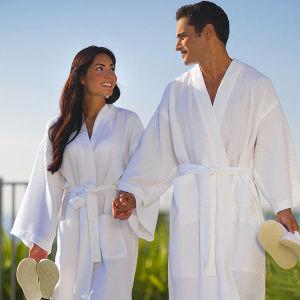 Couples Robe Kimono Hotel Waffle Cotton White Bathrobe/Robes pictures & photos