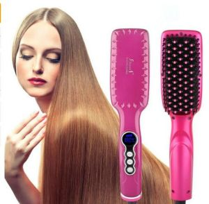 110-220 V Anti Scald LCD Display Hair Brush Straightener pictures & photos